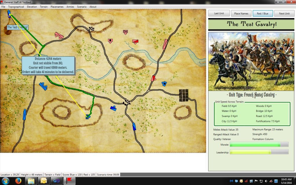 An example of the new EZRoadStar pathfinding algorithm created for General Staff. Compare it to the top screen capture which uses the classic A* algorithm. Click to enlarge.
