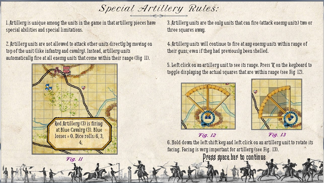 Screen shot of the page describing the rules for artillery in General Staff.