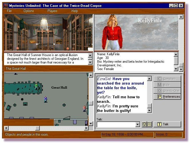 Mysteries Unlimited screen shot (Windows) was a massively multiplayer online mystery game created for AOL/WorldPlay (click to enlarge).