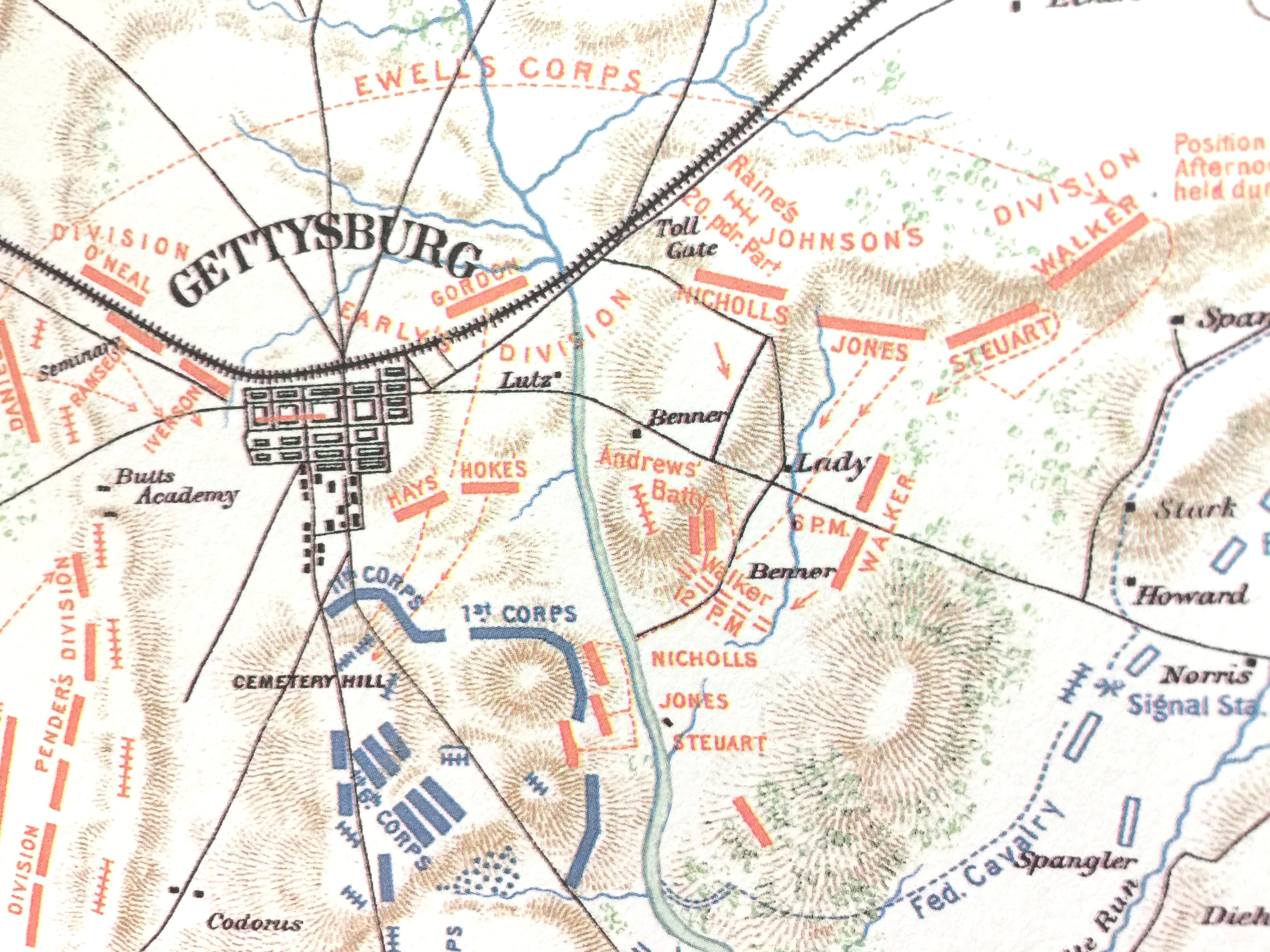 Gettysburg Topographic Map.Rewards General Staff