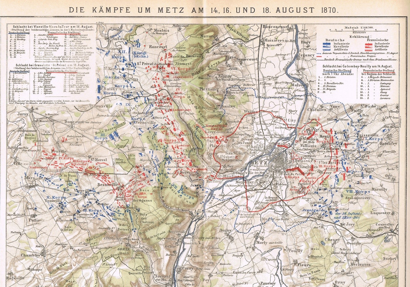 german map of the battle of gravelotte saint privat made shortly after the battle click to enlarge